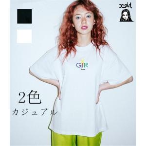 エックスガール X-girl LOGO カラフル 半袖Tシャツ ホワイト ブラック ロゴ コットン レディース|cobalt-shop
