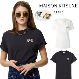 在庫処分!MAISON KITSUNE メゾン キツネ  ロゴ Tシャツ DOUBLE FOX HEAD 半袖 メンズ レディース ユニセックス 人気シャツ 半袖Tシャツ|cobalt-shop