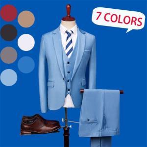 スーツ上下セット メンズビジネスオフィス テーラードジャケット ズボン2点セット通勤カジュアルスーツ7色|cobalt-shop