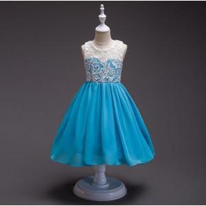 送料無料!女の子ドレス  ワンピース フォーマルドレス ロングドレス レース  チュールスカート8color 結婚式のおよばれ キッズドレス cobalt-shop