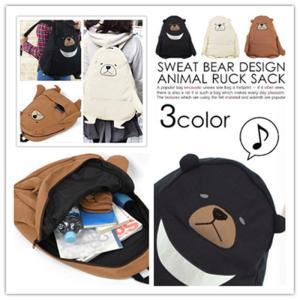 リュックサック レディース マザーズバッグ おしゃれ 軽量 通学リュック くま クマ 個性的 可愛い 女子 アニマル 学生 スウェット|cobalt-shop