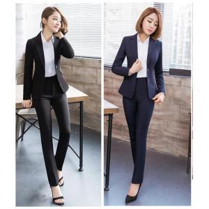 スーツジャケットパンツ上スーツ上下2点セット レディース 長袖 通勤 オフィス 入学式 就職 大きいサイズ 家庭で洗える 防シワ加工|cobalt-shop