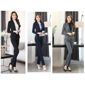 スーツ レディース ノーカラージャケット パンツ2点セット レディースファッション ビジネス フォーマル 礼装 黒 紺 灰 通勤|cobalt-shop