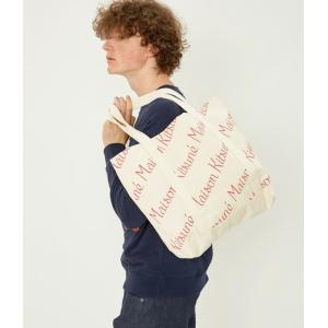 在庫処分!MAISON KITSUNE SHOPPING BAG ALL-OVER MAISON KITSUNE メゾンキツネ キャンバス ロゴ トートバッグ|cobalt-shop