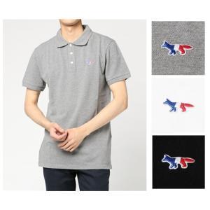 【在庫処分】メゾンキツネ MAISON KITSUNE POLO メンズ 半袖 ポロシャツ トリコロール FOXパッチ キツネ ワンポイント  父の日|cobalt-shop
