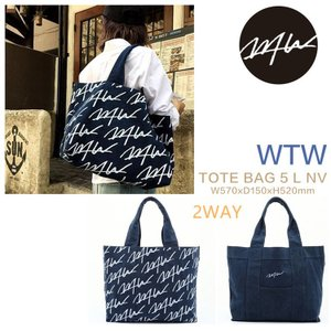 ★WTWシリコンバンド無料贈呈★WTW TOTE BAG 5 L NV(NAVY) トートバッグ L  リバーシブル大きいサイズ 2way  男女兼用マザーズバッグ|cobalt-shop