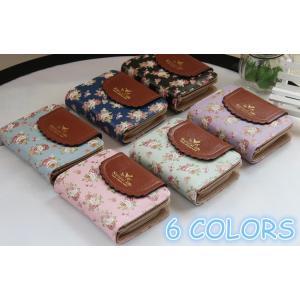 送料無料!財布 花柄 2つ折り財布 かわいい レディース プレゼント 人気 女性用 安い 新品 サイフ さいふ カード入れ 小銭|cobalt-shop
