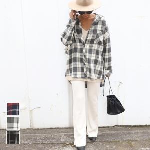 チェックシャツ レディース オーバーサイズ フランネルシャツ ブラウス タータンチェック 格子柄 長袖 ゆったり レギュラーカラー トップス 19aw メール便不可 cocacoca
