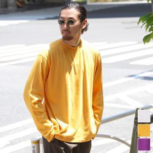 ロングTシャツ メンズ トップス 長袖 カットソー コットン ラウンドネック ビッグサイズ 無地 ロングスリーブ 大きめ オーバーサイズ  19aw メール便可|cocacoca