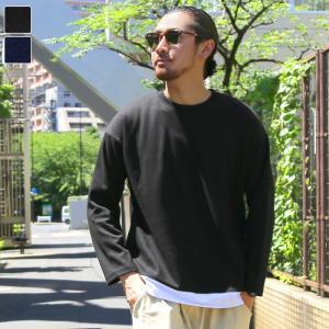 ロングTシャツ メンズ トップス 長袖 カットソー スウェット レイヤード 重ね着 オーバーサイズ 厚め ラウンドネック トレーナー ロング丈 19aw メール便不可|cocacoca