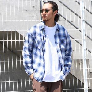 チェックシャツ メンズ トップス ワイシャツ 長袖 コットン ポケット タータン ボタンダウン ラウンドカット オーバーサイズ 大きめ 19aw メール便不可|cocacoca