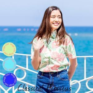 アロハシャツ レディース(女性用)『Classical Hibiscus』全3色 レギュラーカラーシャツ 沖縄結婚式にアロハシャツ 送料無料|coco-j