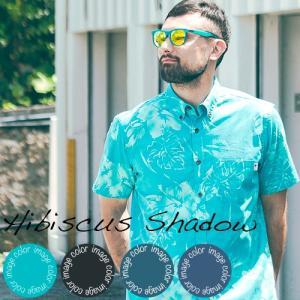 かりゆしウェア アロハシャツ メンズ(男性用) Hibiscus Shadow 全4色 沖縄結婚式にアロハシャツ 送料無料|coco-j