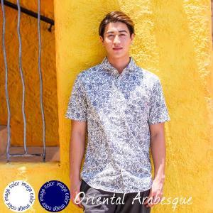 かりゆしウェア アロハシャツ メンズ(男性用)「Oriental Arabesque」全2色 半袖 沖縄結婚式にアロハシャツ メール便利用で送料無料|coco-j