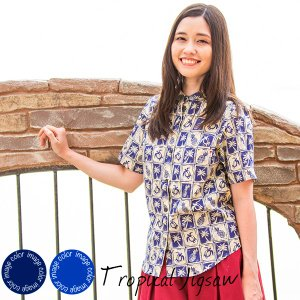 かりゆしウェア アロハシャツ レディース(女性用)「Tropical Jigsaw」全2色 半袖 沖縄結婚式にアロハシャツ メール便利用で送料無料|coco-j