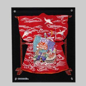 ミニチュア着物宝船模様鶴波 赤色|coco-sode