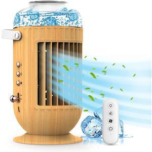 1台4役 冷風機 加湿 空気清浄機 リモコンつき 大容量 木目 モダン 霧化機能 オフィス 寝室の画像