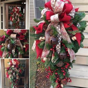 お中元 クリスマスリース クリスマス スワッグ 大きい オーナメント ナチュラル リース ドア 玄関...