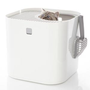 【あすつく】Modkat Litter Box 猫 猫トイレ トイレ スタイリッシュ 砂散らからない 上から入る ホワイト|cocoatta|02
