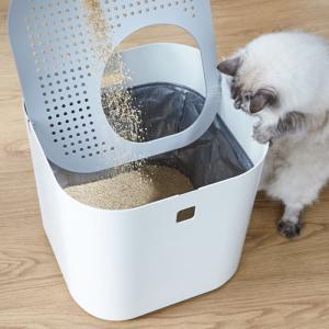 【あすつく】Modkat Litter Box 猫 猫トイレ トイレ スタイリッシュ 砂散らからない 上から入る ホワイト|cocoatta|04