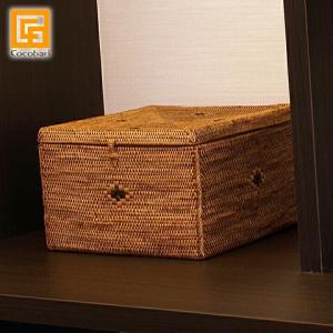 アタ 蓋付きボックス(スクエア)   アジアン雑貨 バリ おしゃれ   かご 収納 小物入れ アタ製品 バリ島 バリ雑貨 バリ風 インテリア cocobari