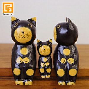 バリネコM(親子)(ブラック )   アジアン雑貨 バリ バリ猫 木製 木彫り バリ雑貨 バリ風 インテリア|cocobari