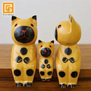 バリネコM(親子)(イエロー)   アジアン雑貨 バリ猫 インドネシア エスニック バリ雑貨 バリ風 インテリア cocobari