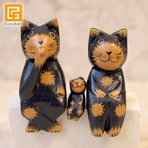 バリネコS(親子)(ブラック)   アジアン雑貨 バリ猫 インドネシア バリ雑貨 バリ風 インテリア cocobari