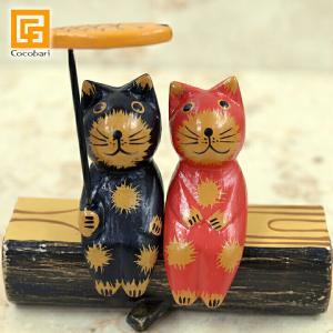 バリ雑貨 木彫り バリネコS(カップル&魚) 切り株付き   バリ猫 インドネシア バリ風 インテリア cocobari