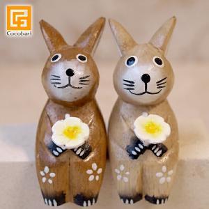 バリ雑貨 木彫り ウサギS カップル(ナチュラル) うさぎ グッズ 木彫り 木製 置物 人形 うさぎ好き プレゼント インテリア小物 雑貨 アジアン雑貨 cocobari
