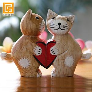 バリネコ(カップル)ハート バリ猫 猫グッズ 雑貨 プレゼント 小物 バリ雑貨 アジアン雑貨 cocobari