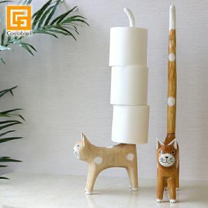 バリネコのトイレットペーパースタンド アジアン雑貨 バリ雑貨 トイレットペーパーホルダー 猫グッズ バリ猫|cocobari