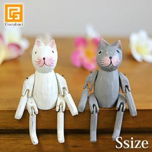 木彫りのお座り猫(S)  猫グッズ 雑貨 プレゼント 猫雑貨 パペット人形 バリ猫 置物 cocobari