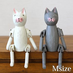 木彫りのお座り猫(M)  猫グッズ 雑貨 プレゼント 猫雑貨 パペット人形 バリ猫 置物 cocobari