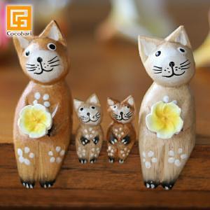 バリネコS(ファミリー)(ナチュラル)(親2子2)  猫グッズ 雑貨 プレゼント 猫雑貨 人形 バリ猫 置物|cocobari