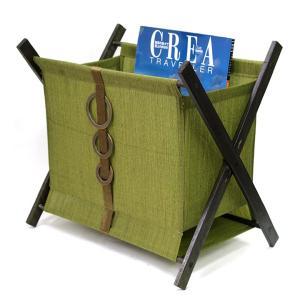 マガジンラック(Green×Olive)   アジアン雑貨 バリ おしゃれ リゾート スリム 折りたたみ サイドワゴン 荷物置き バリ雑貨 バリ風 インテリア|cocobari