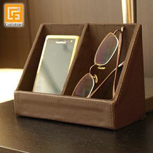 スマホ&メガネホルダー(フェイクレザー)   メガネスタンド スマホスタンド 父の日 男性用 プレゼント  バリ おしゃれ 置き 眼鏡 合皮 バリ雑貨 cocobari
