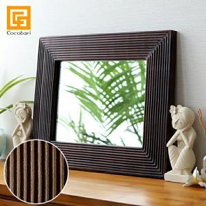 バリ アンティークミラー1 (50×40cm)   アジアン雑貨 バリ 鏡 壁掛け おしゃれ 木製 エスニック バリ雑貨 バリ風 インテリア|cocobari