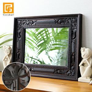 バリ アンティークミラー4 (50×40cm) アジアン雑貨 バリ 鏡 壁掛け おしゃれ 木製 バリ雑貨 バリ風 インテリア|cocobari