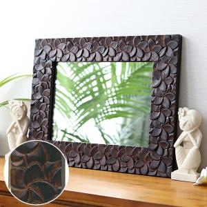 バリ アンティークミラー6 (50×40cm)   アジアン雑貨 バリ 鏡 壁掛け おしゃれ 木製 エスニック バリ雑貨 バリ風 インテリア|cocobari