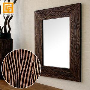 ミラー(ラグジュアリースタイル)(50×40cm)   鏡 壁掛け おしゃれ 木製 アジアン バリ バリ雑貨 バリ風 インテリア|cocobari