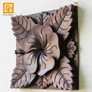 木彫りのレリーフ(ハイビスカス)   アジアン雑貨 バリ ウッド おしゃれ リゾート バリ雑貨 バリ風 インテリア|cocobari