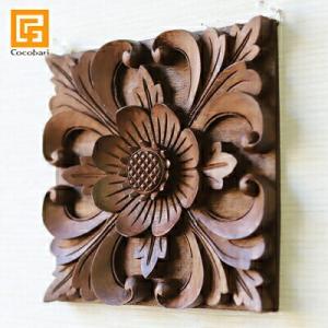 木彫りのレリーフ(お花)   アジアン バリ 木製 ウッドレリーフ 壁掛け 壁飾り バリ バリ雑貨 バリ風 インテリア|cocobari