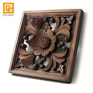 枠付き木彫りのレリーフ(お花)   アジアン バリ 木製 ウッドレリーフ 壁掛け 壁飾り バリ雑貨 バリ風 インテリア|cocobari