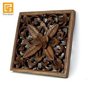 枠付き木彫りのレリーフ(5つのプルメリア)   アジアン バリ 木製 パネル ウッドレリーフ 壁掛け バリ雑貨 バリ風 インテリア|cocobari