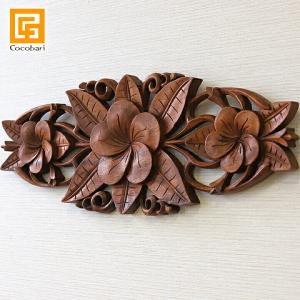 木彫りのレリーフ(3つのプルメリア)   アジアン バリ 木製 パネル ウッドレリーフ 壁掛け バリ雑貨 バリ風 インテリア|cocobari