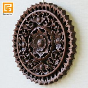 丸形木彫りのレリーフ(お花)   壁掛け 壁飾り アジアン バリ 木製 ウッドレリーフ バリ雑貨 バリ風 インテリア|cocobari
