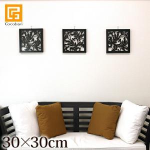 アートパネル(30×30cm)   アジアン バリ 花 アートフレーム 木製 ウッド 壁掛け 壁飾り モダン スタイリッシュ バリ雑貨 バリ風 インテリア|cocobari