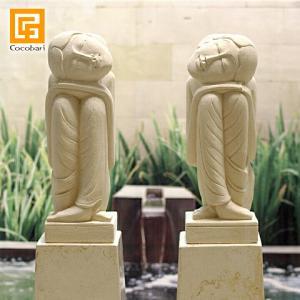 バリニーズ女性像ペア(高さ30cm)   石像 大きい ペアの石像 バリ サロン ディスプレイ オブジェ 庭 バリ島 バリ雑貨 バリ風 インテリア|cocobari