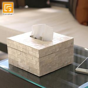 ハーフサイズ ティッシュケース (シェル)   おしゃれ ハーフ 半分 コンパクト 卓上 ティッシュボックス ホワイト 貝 バリ雑貨 バリ風 インテリア|cocobari